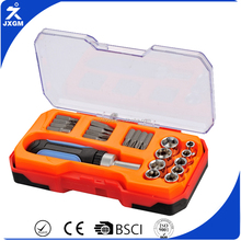 "swiss line kraftwelle popular sell New product 22pcs socket set (1/4"")with ratchet screwdriver handle with plastic case"
