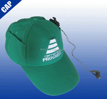 100 cotton twill baseball cap with earphone