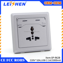 Various color pc material CE ROHS approved 10A south africa wall socket