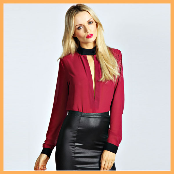 long sleeve ladies bright color chiffon blouse