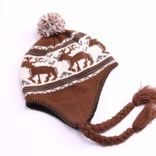 winter hats jacquard knitted hat with ear flaps