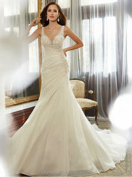 sexy v neck lace beaded ball gown strap plain white satin bridal gown