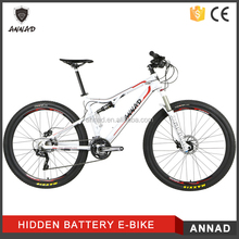 Full suspension mountain e-bike with rear hub drive system
