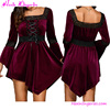 Wholesale Red Wine Lace Up Flare Sleeve Cheap Evening Free Prom Gowns