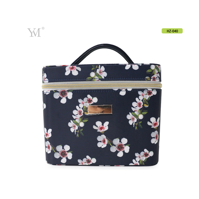 Portable and simple flower print nylon material hard cosmetic tool case with mirror
