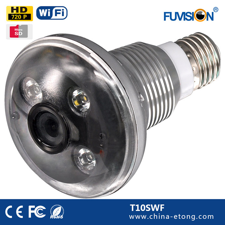 T10SWF Wifi IP Wireless Mini LIGHT bulb P2P Security Camera Hidden Video Recorder DVR LED Cam