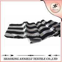 Wholesale white and black satin stripe table runner