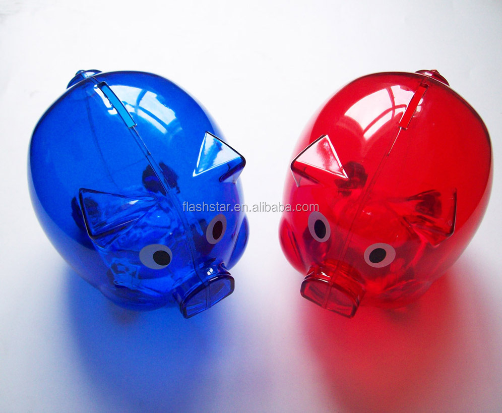 Transparent piggy bank money saving box for promotion/coin bank