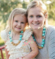 2016 New Design Fashion Accessories Mum and Little Girl's Same Big Aqua Pearl+ Gold Shamballa +Bowknot Chunky Necklace PLC0002