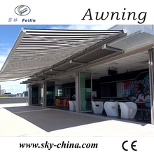 Aluminum retractable canopy with motor