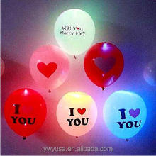 New design fashion biodegradable led balloon heart shape led balloon i love you print led balloon for lovers day