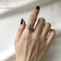 Fashionable 2018 hot sale 925 silver moon natural stone ring for girls