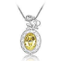 Chinese Stlye Monkey of Chinese Zodiac Swarovski Element Chain Necklace