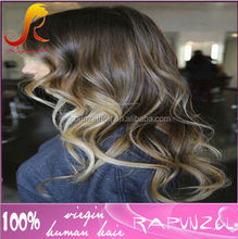 Best sale Ombre color Fashion Wavy Virgin brazilian hair full lace wig for african american wigs