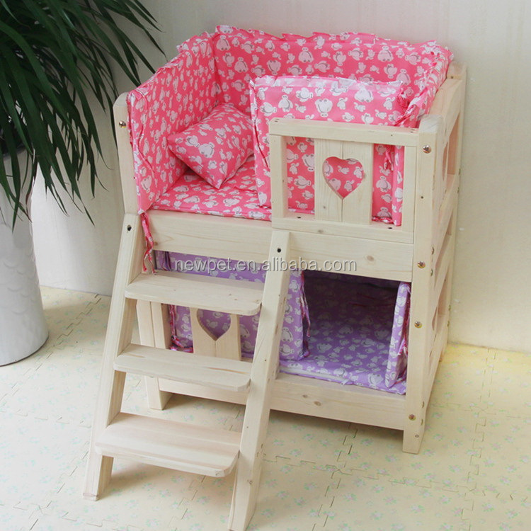 Factory supply new design two layers wooden dog bed wooden dog house kennel