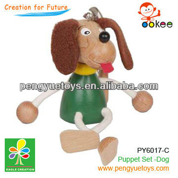 wooden dog marionette and puppetry