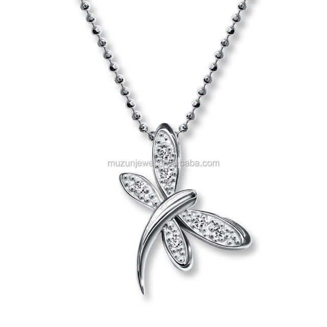 Trendy Jewelry Real 925 Sterling Silver CZ Dragonfly Pendent Necklace