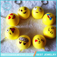 Yiwu Wholesale Promotional Gift Custom Design Emoji Keyring Rubber Ball Emoji Keychain