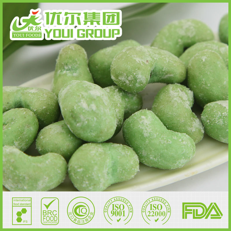wasabi flavor coated cashew snack