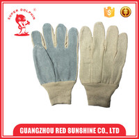 Cheap grey color white cloth half leather work gloves