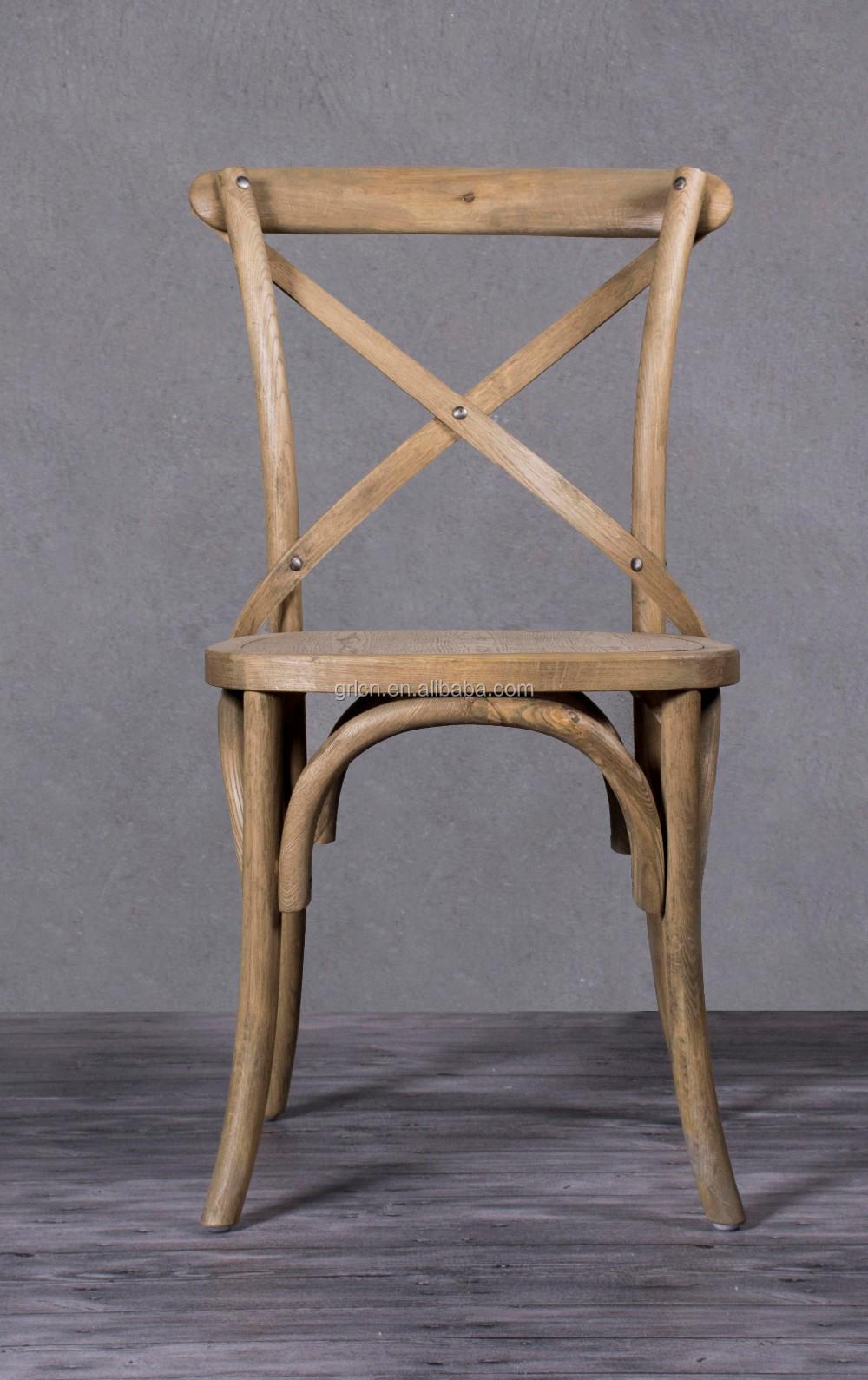 Groothandel goedkope antieke eiken massief hout kruis terug stoel ...