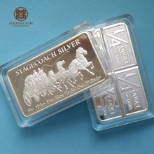cheap business gift custom brass metal embossed silver plating bullion 1 oz fine silver bar replica