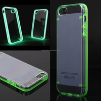 Hot selling glow in the dark luminous transparent hard back case cover for iphone 4G 5S 5C