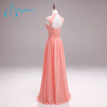 Wholesale Pink Plus Size Chiffon Crystal Pleat Sexy Long Evening Dress