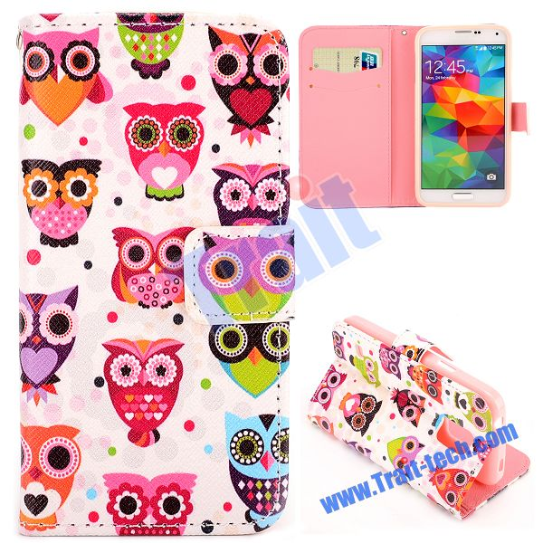 Camouflage Soft TPU+PU Leather Foldable Case For Samsung Galaxy S5 Mini Flower Eyes Owl Pattern
