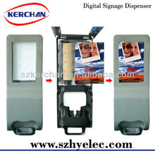 Floor standing poster display frame with hand dispenser