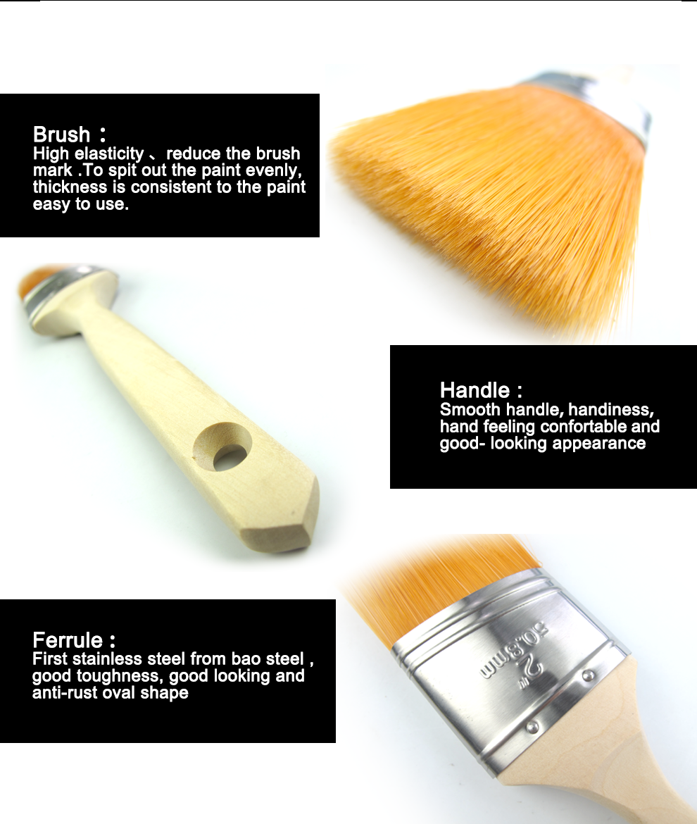 Pacificpaint tools(PPT) two colour tapered filament blend with bristle plastic hanlde paint brush
