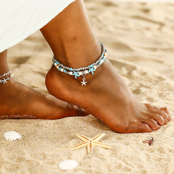 Double layer yoga anklets fancy starfish anklets