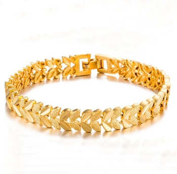 24K Gold Plating 8MM Wdith In Stock New Design Ladies Copper Bracelet Wholesale