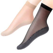 Wholesale spring and summer fashion women lady sexy breathable antislip nylon foot short silk ankle socks