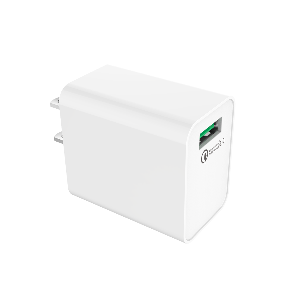 2018 UL FCC Certified White Black 1 Port US Plug QC 3.0 Portable Mobile USB Wall Charger