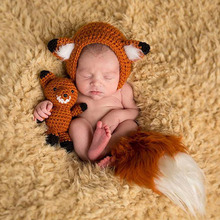 Wholesale animal stylish handmade infant knitted hat with doll