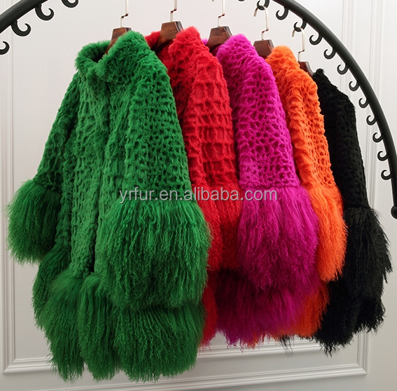 YR117 Mexico Style Fahion Fur Jacket Colored Genuine Mongolia and Rabbit Fur Coat