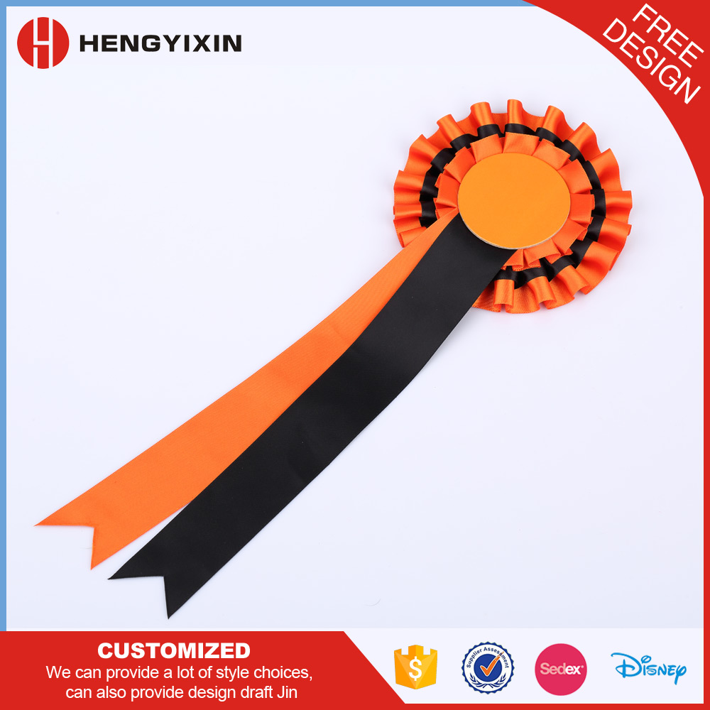 Custom logo two colors polyester ribbon rosettes