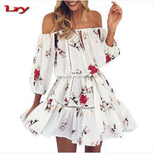 Cheap summer new ladies off shoulder dress medium sleeves design flower printed chiffon dress