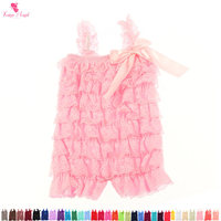 Free Shipping Baby Girls Bubble Ruffle Rompers Boutique Adorable Petti Lace Romper With Bow High Quality Baby Party Romper