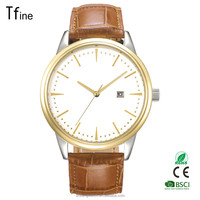 Men's elegant Crystal Accented Gold-Tone Black Leather Strap Watch