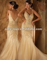 new styles Mermaid Low V neck Gold wedding Dress 2012 With Spaghetti Straps OLH125