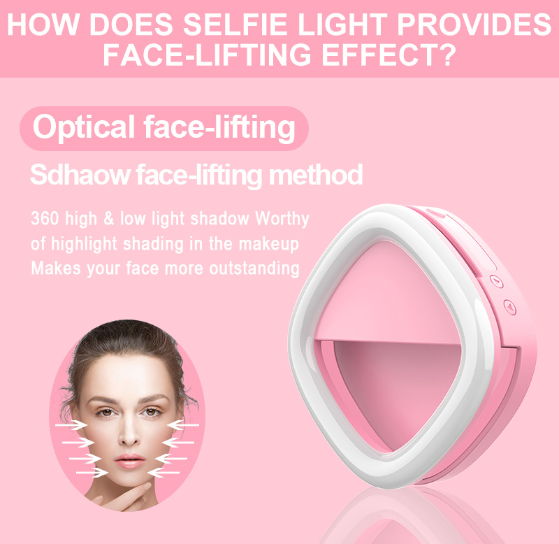 2019 Selfie Portable clip mount Lighted makeup mirror selfie ring light with new function emergency power bank