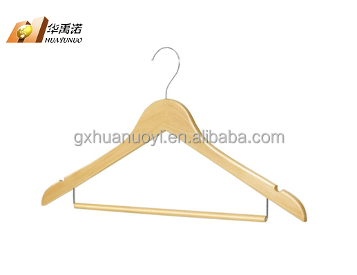 hangers/Flat wooden suit hanger with locking bar & U notches / wood hangers for clothes wholesale