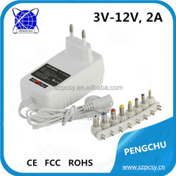 Adjustable voltage 3-12V 24W universal power adapter