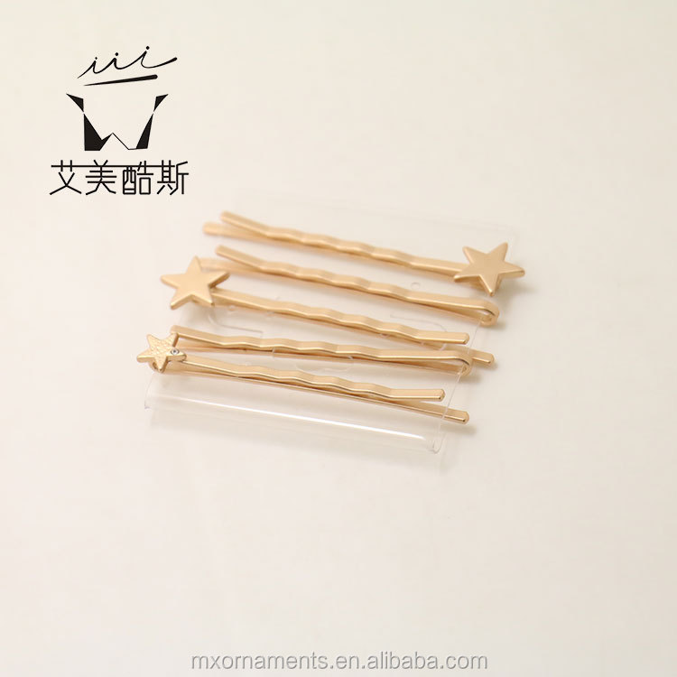 custom matt gold stars shaped hairpins wholesales!