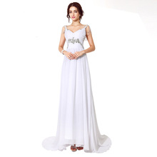 Sexy long tail formal lady white sleeveless boho style elegant chiffon dark V-neck high waist biide wedding party dress