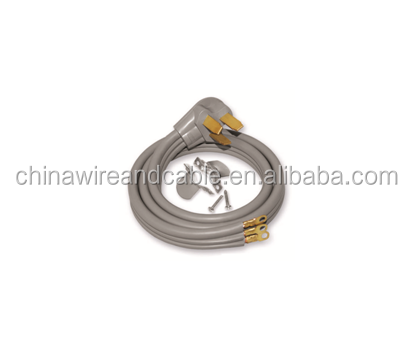J100433 5Ft 6/2 & 8/1 Gauge 50 Amp SRDT Type 3 Wire Range Extension Cord Gray Right Angle, NEMA 10-50