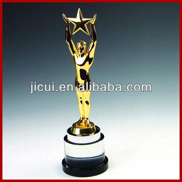 New Design Metal Star Metal Trophy Cup Award With Crystal Base,Crystal Trophy