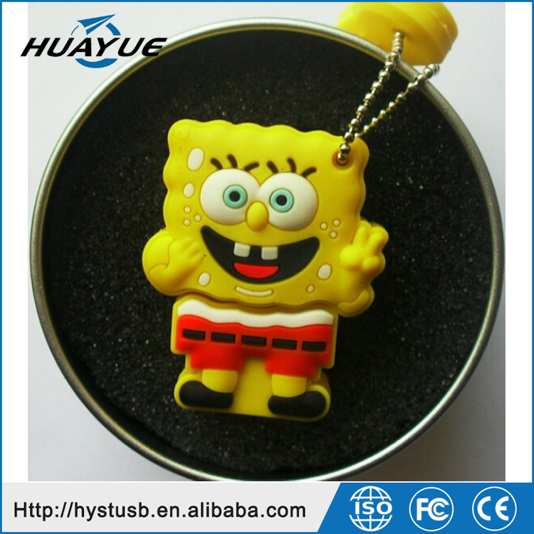 Cheapest price usb disks PVC spongebob usb memory sticks 8gb 16gb wristband usb flash drive